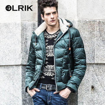 Olrik 2016 Men Winter Down Jacket Coats Short Thick Overcoats Men's Clothing Feather Dress Winter Jackets Nordic Style Design
