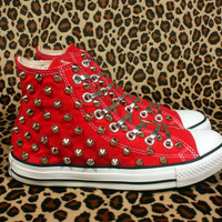 Studded Converse Silver Cone with Converse Red high top by CUSTOMDUO on ETSY