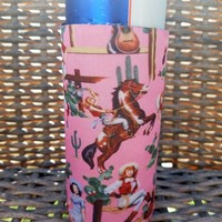 Pink Cowgirl Skinny Can Cooler