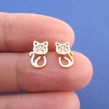 I Love Cats Kitten Shaped Rhinestone Stud Earrings in Gold