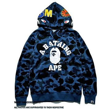 Bape Aape Autumn Winter Trending Couple Stylish Print Blue Camouflage Hoodie Sweater Top Sweatshirt