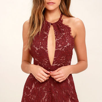 Emergent Blooms Burgundy Lace Romper