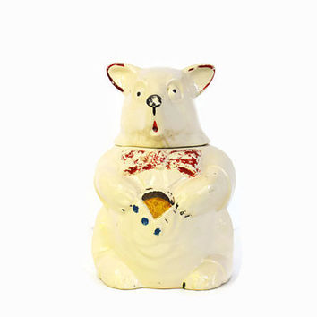 Vintage McCoy Bear Cookie Jar, 1945 Bear in Vest Cookie Jar,  Animal Cookie Jar, Cold Paint McCoy Pottery