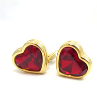 Swarvoski Crystals Gold Tone Clip Earrings Red Rhinestone Heart Clip On Designer Signed Vintage Costume Jewelry Gift Ideas Sweetheart