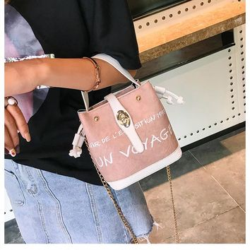 Letter Female Fashion Hit  Color Bucket Bag Personality Chain Lock Messenger Bag