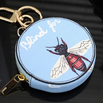 GUCCI Cute Key Bag Coin Purse Bee Print Bag Light Blue