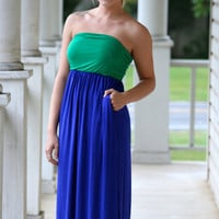 Mavs Pocket Maxi Dress - Blue and Green