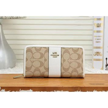 Coach Newest Fashion Women Leather Zipper Wallet Purse White