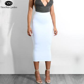 NewAsia Garden 2 Layers Bodycon Midi Skirt Sexy High Waist Long Skirt Maxi Pencil Skirt Plus Size Skirts Womens Saia Midi