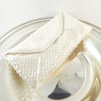 Beaded Clutch, Small White Formal Evening Bag, Vintage Envelop Clutch, White Pearl Purse, Walborg Bag