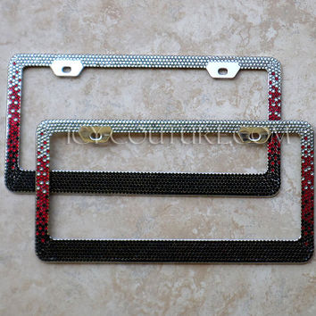 BLACK RED Custom Colors OMBRE  Swarovski Crystal License Plate Frame