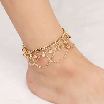 ONETOW Personality fashion wild bohemian wave tassel bell anklet