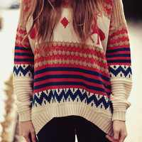 Comfortable LOOSE BAT SLEEVE DEER SWEATER