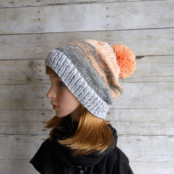 Coral and Grey Pom Pom Beanie, Peach Slouchy Beanie, Gray and Coral Beanie, Ski Hat, Snowboard Beanie, Soft Pastel Winter Hat