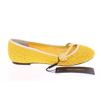 Dolce & Gabbana Yellow Viscose Knitted Ballet Flats Shoes