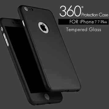 7 Plus 360 Case Full Body Cover Protection Phone Cases For Iphone 7 7 Plus Luxury 3 in 1 Armor Back Cover Funda Free Glass Film