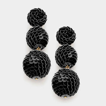 Black Sequin Triple Bon Bon Style Earrings, Sequin Ball Earrings, Triple Ball Drop Earrings, Drop Earrings, Sequin Ball Earrings