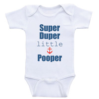 "Baby Boy Onesuits ""Super Duper Little Pooper"" Funny Baby Bodysuits For Boys"