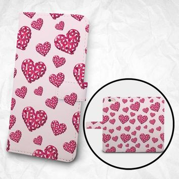 iPhone 6 6S Plus case, Samsung Galaxy S6 case Edge case Note 5 4 3 2 PU leather flip cover Book Phone case Wallet case - Pink Sweet Hearts