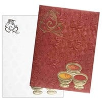 Deep Red Metallic 3D Ganesha Card in Red - KNK2408