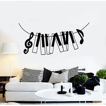 Vinyl Wall Decal Music Piano Notes Treble Clef Musical Keys Stickers Mural (g673)