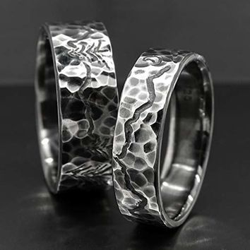 unique wedding bands, mountain range ring set, engraved landscape rings for him and her, outdoor wedding rings, custom wedding bands silve