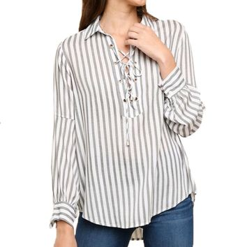 Umgee Lace Up Striped Top Black