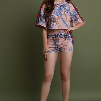 Baroque Side Stripe Crop Top and Shorts Set