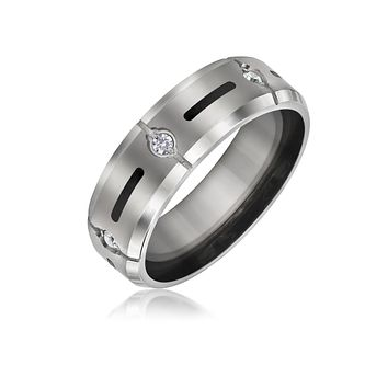 Black Inlay AAA CZ Accent Mens Titanium Wide Wedding Band Ring 8mm