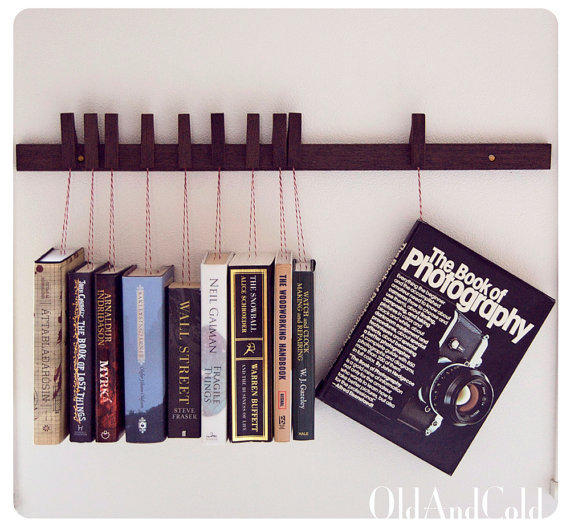 Custom Made Wooden Book Rack Movable From Oldandcold On Etsy