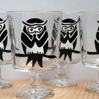 Handpainted Glass Beverage Mugs, Original Painting, Black Owl,  black and white animal glass painting
