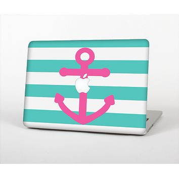 The Teal Striped Pink Anchor Skin Set for the Apple MacBook Air 11""