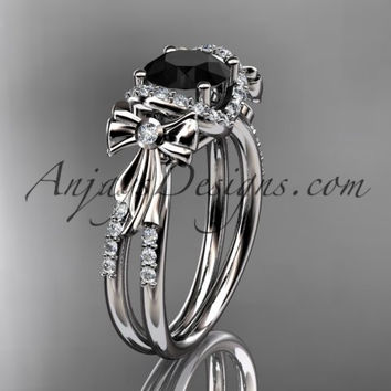 14kt white gold diamond unique engagement ring, bow ring, wedding ring with a Black Diamond center stone ADER155