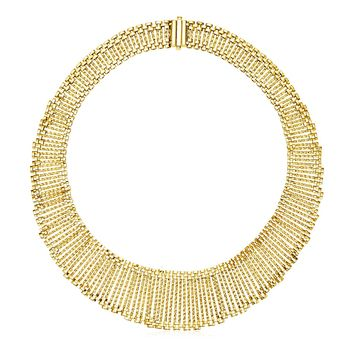 14k Yellow Gold 18 inch Graduated Textured Cleopatra Style Necklace