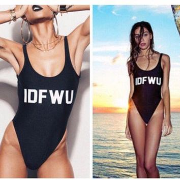 modern trendy idfwu print monokini one piece swimsuit