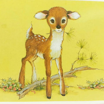Vintage Deer Christmas Card, Unused, Woodland Fawn, Doe, Kitsch, Retro Holiday, Kitschmas, Holly, Cute Baby Animals, Doe Eyed, Holiday Card