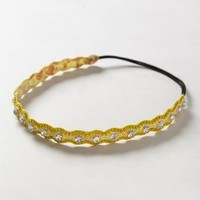 Glimmer Wave Headband by Deepa Gurnani Dark Yellow One Size Hair