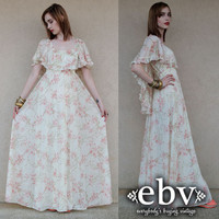 Vintage Hippie Dress Vintage 70s Floral Maxi Wedding Dress S M L