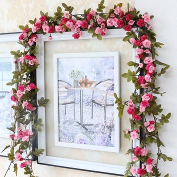 1 Pc Artificial Flower Silk Rose Vine Hanging Garland Wedding Party Home Decoration Pink Purple Champagne White Pink Color