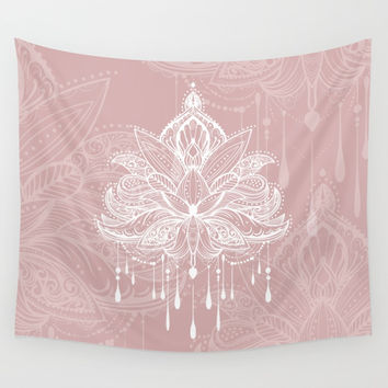 Blush mandala Wall Tapestry by printapix