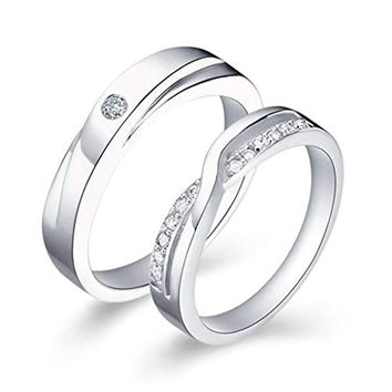 Silver Plated Wedding Rings Cubic Zirconia Rings Infinity for Couples