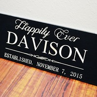 Personalized Wedding Gift Sign With Family Name and Wedding Date 5 Year Anniversary Gift Established Date Sign .sign#252