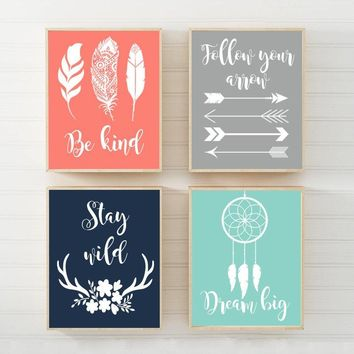 WOODLAND QUOTE Wall Art, Girl Tribal Quotes CANVAS or Print Be Brave Be Kind Dream Big Stay Wild Tribal Shower Woodland Sayings Set of 4