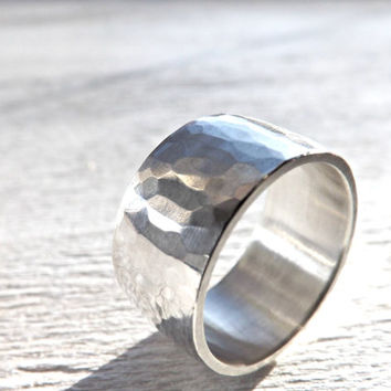 Very wide silver ring - Hammered silver ring - Mens ring - Rustic wedding ring - Domed ring band - Mens engagement ring - 10mm to 12mm wide