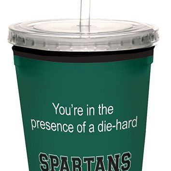 Tree-Free Greetings cc34883 Spartans College Basketball Artful Traveler Double-Walled Cool Cup with Reusable Straw, 16-Ounce