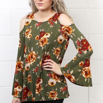 Floral Bells Cold Shoulder Blouse {Olive}
