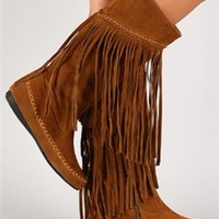 Something Going On Fringe Boots - Rust