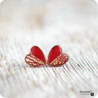 Jewelry Set - Red Gold Hearts - Valentines Day