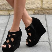 Black suede look wedge sandal (Ameli) from Chockers Shoes