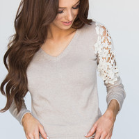 Quinn Beige V-neck Sweater With Crochet Detailing